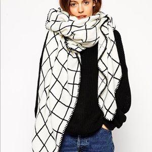 ASOS Oversized Grid Check Blanket Scarf White